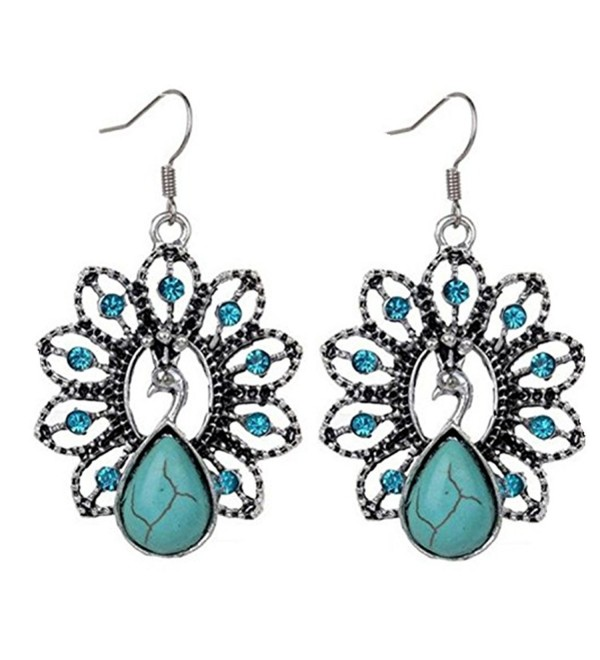 Susenstone Woman Vintage Peach Heart flower Turquoise Earrings - C - C712MAZI42S