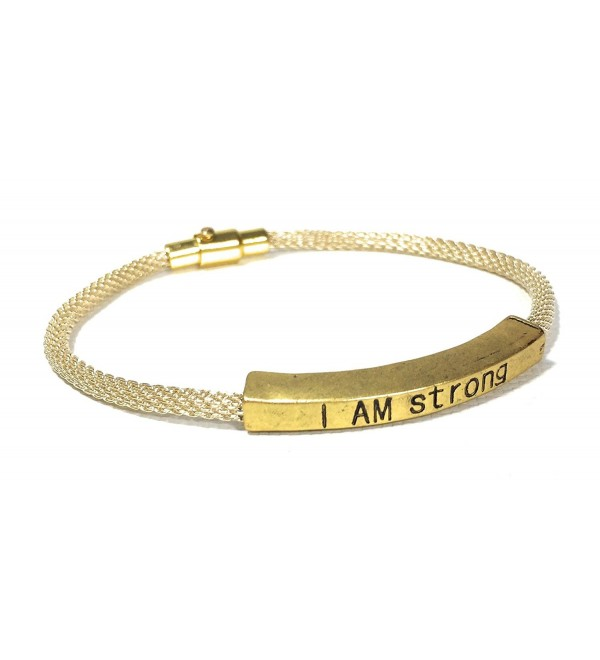 I Am Strong Inspirational Quote Bracelet Mesh Stacking Made in USA - Silver - C0182W6LGQZ