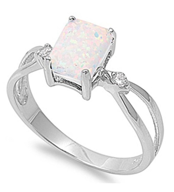 White Lab Created Opal and Cubic Zirconia .925 Sterling Silver Ring Sizes 5-10 - CG11O5C2L9T