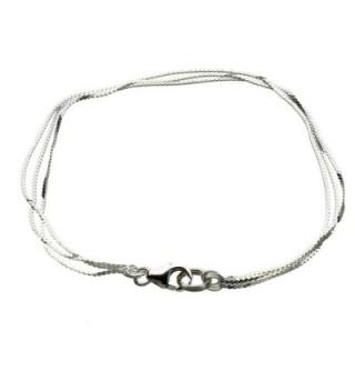 Multi-Strand Sterling Silver Serpentine Chain Bracelet Italy - CG18763EMU2
