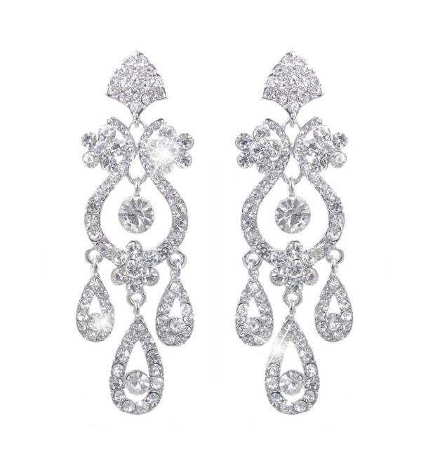EVER FAITH Bridal Flower Vase Chandelier Dangle Earrings Austrian Crystal - 2-Clip-on_Clear Silver-Tone - CG186L2Q7RL