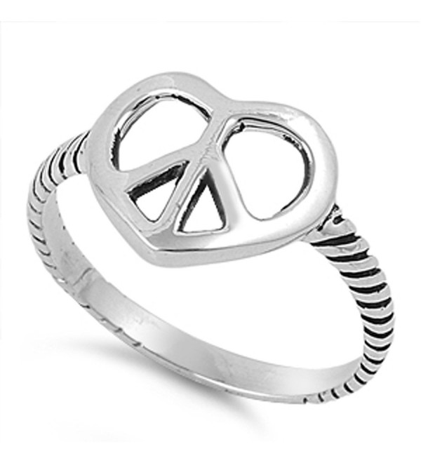 Oxidized Peace Sign Heart Promise Ring New .925 Sterling Silver Band Sizes 5-11 - CS187Z3GLH4