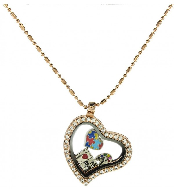Floating Locket Necklace with Choice of 6 Mini Charms and Matching Chain (Rose Gold Heart) by BG247 - C912509YA0R