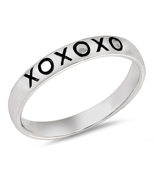 XO Love Kisses Stackable Promise Ring Sterling Silver Friendship Band Sizes 3-10 - C1183CXS8A7