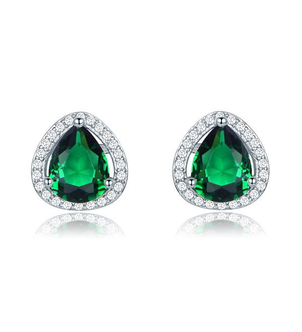 GULICX Shinning Green Emerald Color Cubic Zironia Art Deco Stud Earrings for Party Silver Tone - CF12LUC62WX