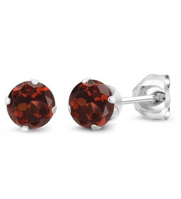 0.74 Ct Round 4mm Red Garnet 925 Sterling Silver Stud Earrings - CE11O0KPI1J