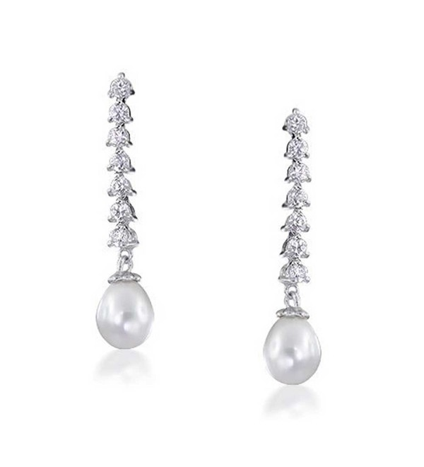Bling Jewelry Freshwater Cultured Pearl CZ Chandelier Earrings 8mm Rhodium Plated Brass - CV1164RG333