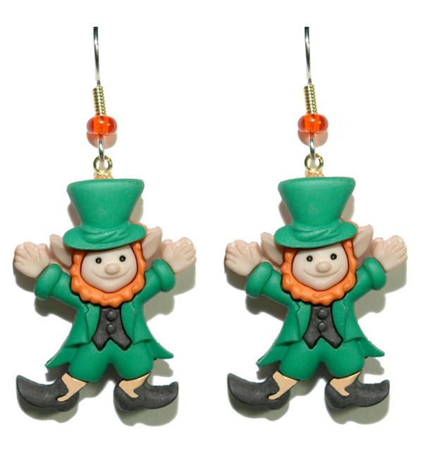 Adorable St Patrick's Day Leprechaun Dangle Earrings (H120) - CI17XMROQIY