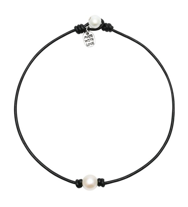 Cultured Freshwater Necklace Handmade Genuine - 15'' Black - CK12IKN9CNB