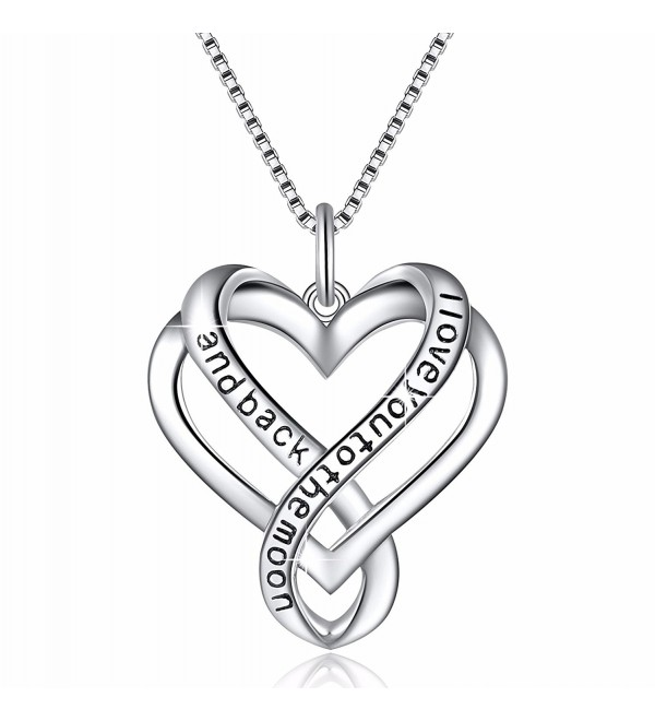 "925 Sterling Silver Jewelry ""I Love You"" Love Heart Pendant Necklace - Endless - C61820E09WT"