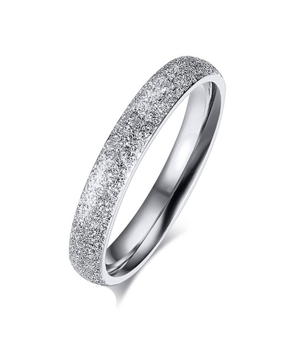 SHINYSO Womens 3mm Stainless Steel Sparkle Wedding Band Engagement Ring - C512BGKKBYT
