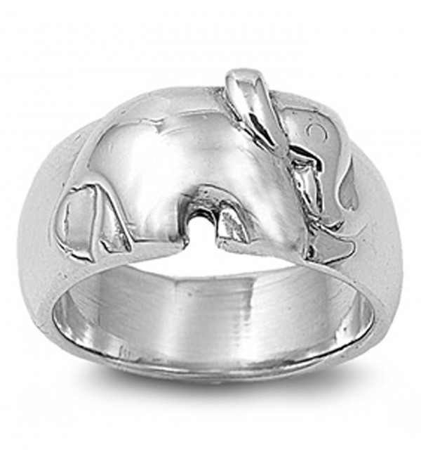 Sterling Silver Women's Elephant Ring Beautiful Pure 925 Band 11mm Sizes 6-10 - CZ11GQ4BXKH