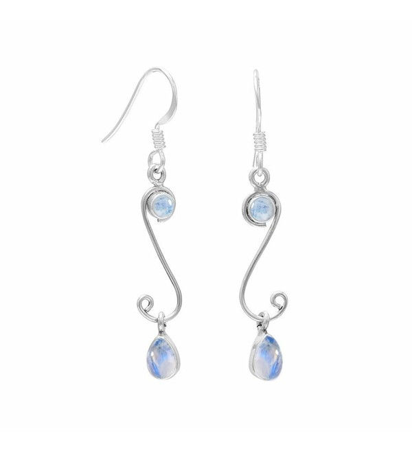 4.10ctw Genuine Gemstone & 925 Silver Plated Dangle Earrings Made By Sterling Silver Jewelry - Rainbow Moonstone - CJ182AAD7T8
