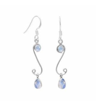 4.10ctw Genuine Gemstone & 925 Silver Plated Dangle Earrings Made By Sterling Silver Jewelry - Rainbow Moonstone - CJ182AAD7T8