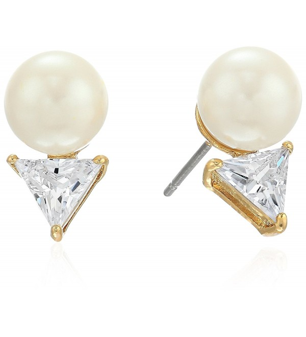 kate spade new york Triangle Pearl Stud Earrings - Clear - CF17YLUZSG0