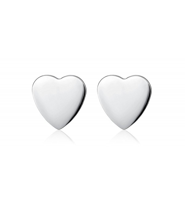 Foreverstore Sterling Silver Heart Stud Earring for Women Girls - C1182AYXMQW