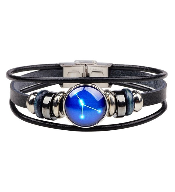CHUYUN Vintage 12 Zodiac Zigns Constellations Muti-layer Leather Bracelet for Women and Men - CR184E722YS