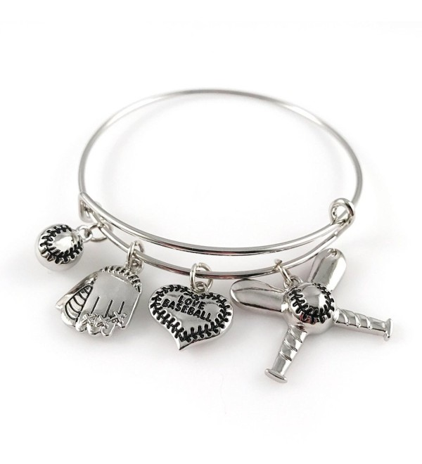 Baseball Bangle Bracelet - Adjustable Silver Jewelry for Moms Fans - C717YDDQ3DI
