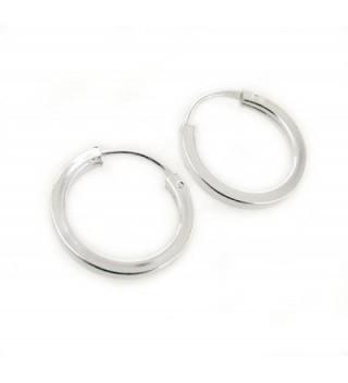 "Sterling Silver Square-Shaped Tube Hoop Earrings- 9/16"" - CN110A6US0R"