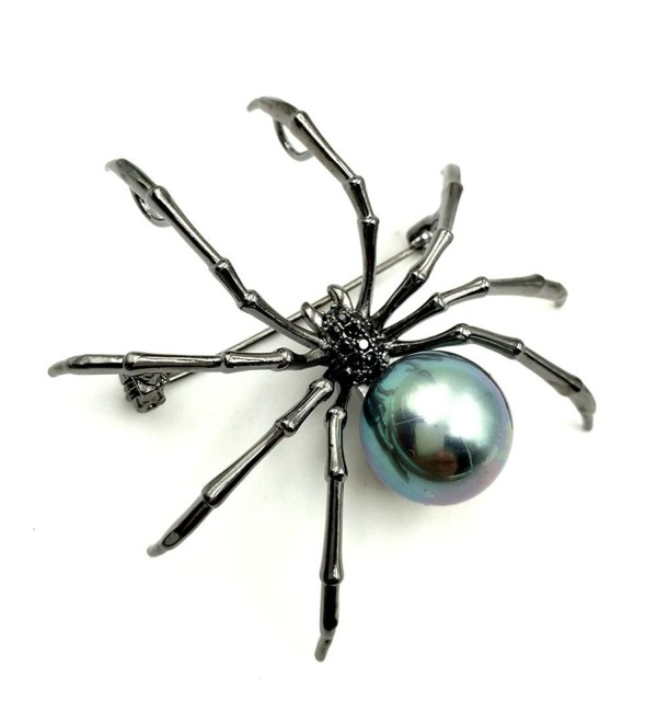 Victorian Style Mother of Pearl Body and Micro Pave Spider Brooches Pins Silver Tone (Black) - CD1850DRTXQ