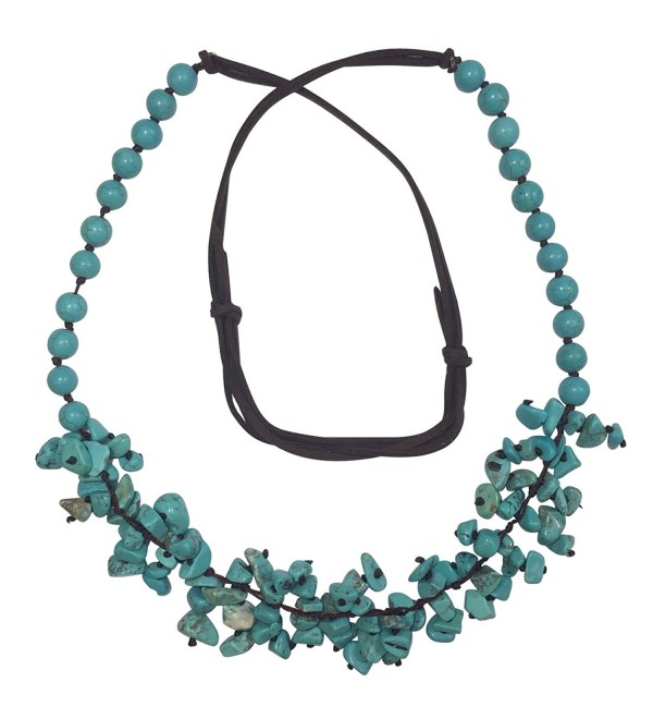 Long Imitation Turquoise Stone Chip Cluster Beaded Brown Cord Necklace - CK17YSAZQO4