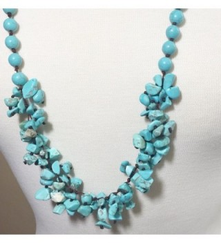 Imitation Turquoise Cluster Beaded Necklace in Women's Strand Necklaces