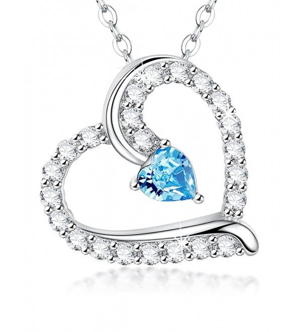 Birthday Birthstone Aquamarine Swarovski Jewelry 20 - Aquamarine March Birthstone heart Pendant - CH1884I00TH