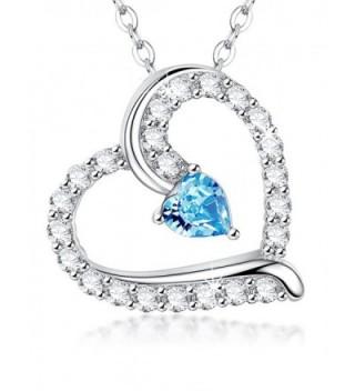 Birthday Birthstone Aquamarine Swarovski Jewelry 20 - Aquamarine March Birthstone heart Pendant - CH1884I00TH