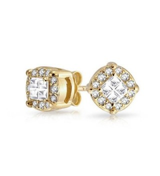 Bling Jewelry Square Invisible Cut Pave CZ Stud earrings Gold Plated 8mm - CA11ECFI7AZ