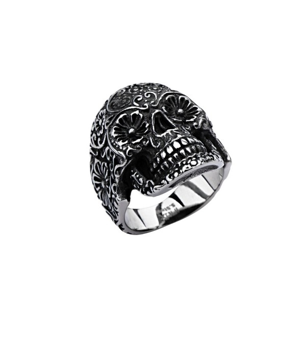 Inox Jewelry Womens Stainless Steel Skull Flower Eyes Ring - C111RIYISM5