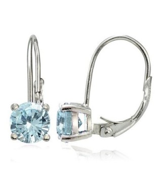 Sterling Silver Birthstone Gemstone 6mm Round Leverback Earrings - March-Aquamarine - CR12GH7PYSJ