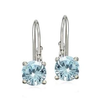 Sterling Silver Aquamarine Leverback Earrings in Women's Drop & Dangle Earrings