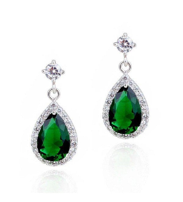Teardrops Dangle Earrings with Green Simulated Emerald Zirconia Crystals 18 ct White Gold Plated for Women - CO12N1SFW1X