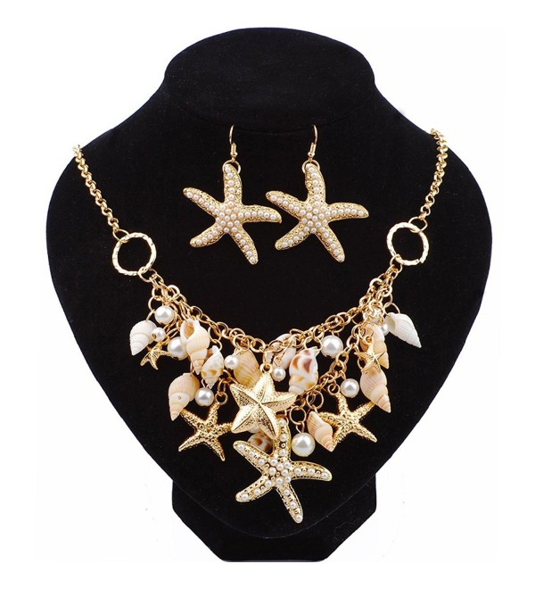 Womens Artificial Golden Starfish Real Shell Artificial Pearl Nautical Necklace Set Earrings for Vacation - CD185E2LCOY