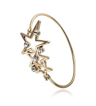RUXIANG Star Cubic Zirconia Bangle Birthstone Charms Cuff Bracelets Jewelry for Women Girls - CY183CR95SK