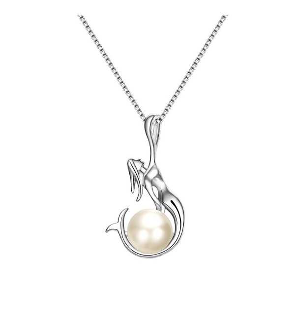 EleQueen 925 Sterling Silver AAA Cream Button Freshwater Cultured Pearl Mermaid Bridal Pendant Necklace Clear - CX17Y07XXHK