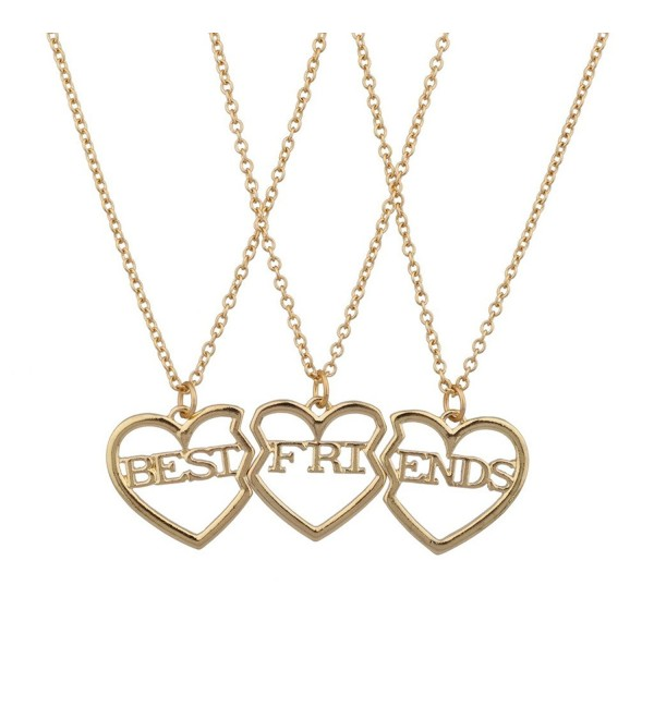 Lux Accessories Best Friends BFF Broken Heart Necklace Trio Set - C3125BQXHJ5