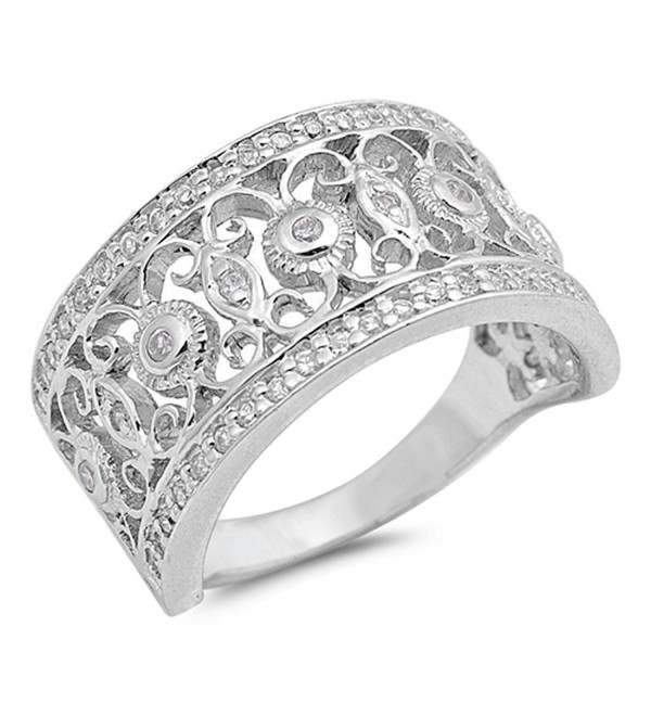White CZ Filigree Flower Fashion Ring New .925 Sterling Silver Band Sizes 6-10 - C712G76HZEL