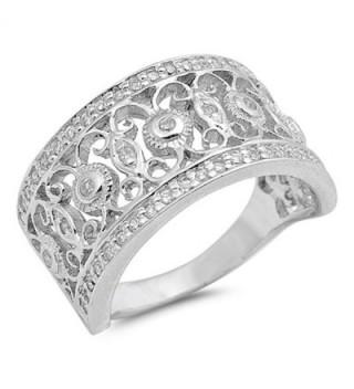 White CZ Filigree Flower Fashion Ring New .925 Sterling Silver Band Sizes 6-10 - C712G76HZEL