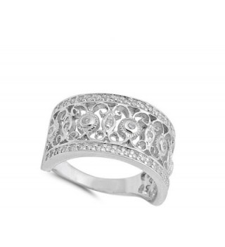 Filigree Fashion Sterling Silver RNG15903 9 in Women's Band Rings