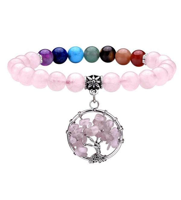 JOVIVI Healing Crystal Bracelet Meditation - Rose Quartz - CU187IH5MRR