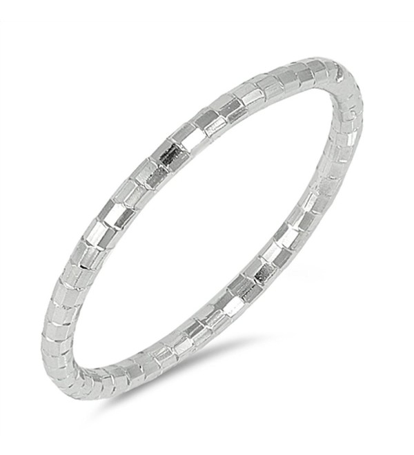Diamond-Cut Thin Stackable Wedding Ring New .925 Sterling Silver Band Sizes 4-10 - CM17AZTSYX0