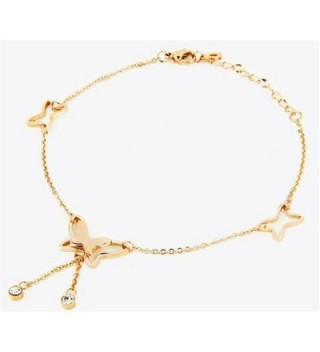 DELIFUR Fashion Titanium Stainless Steel Butterfly Pendent Anklet Style with 9.6'' Chain - Rose Gold - CQ12GRKM9HP