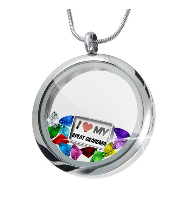 Floating Locket Set I Love my Great Grandma + 12 Crystals + Charm- Neonblond - CS11I4Q3CMR