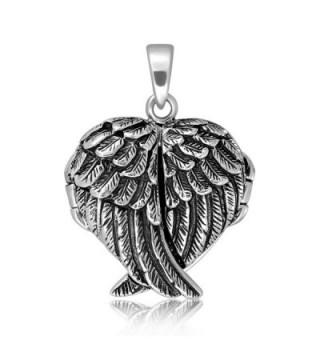 WithLoveSilver 925 Sterling Silver Feather Angel Wing Charms Pendant Locket - C611HYB3H9L