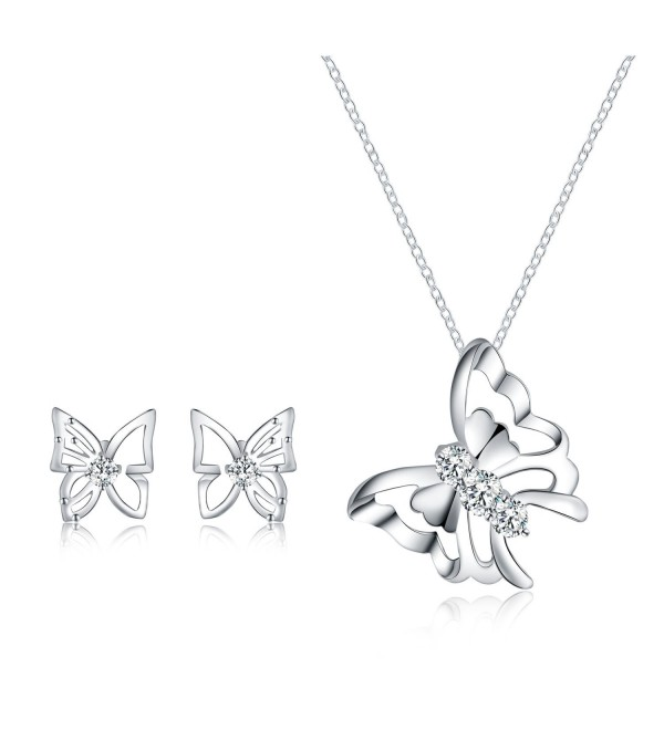 Jewelry Set - Butterfly Necklace Pendant Stud Earrings for Women Mom Teen Girl - Fashion Gift 18K Gold Plated - C31822H86OR
