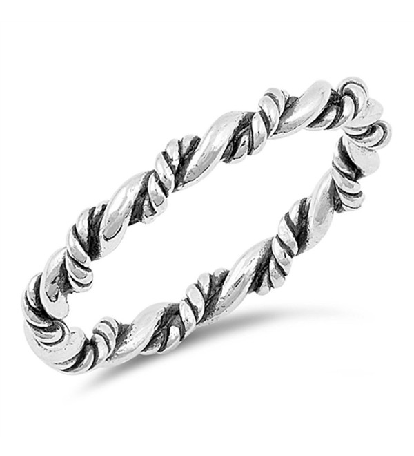 Oxidized Rope Twist Stackable Knot Ring New .925 Sterling Silver Band Sizes 4-10 - CN185CTTQAU