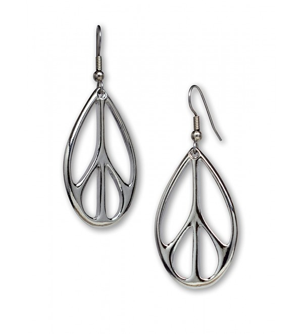 Oval Hippie Peace Sign Dangle Earrings Silver Finish Pewter - CI11JLQFES9