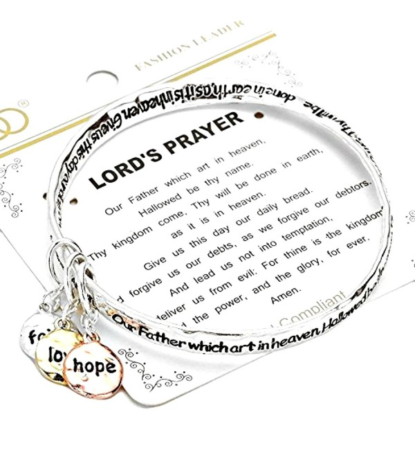 Silvertone Lord's Prayer Bangle Bracelet with Tri-tone Faith- Hope- Love Dangle Charms - CH12E10036H