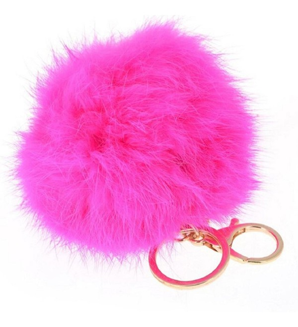 SusenstoneCute Rabbit Fur Ball Keychain Bag Car Key Ring Car Key Pendant - CK12621HC5X